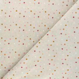 Poppy terry-cloth jersey fabric - grey Flowers x 10cm