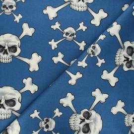 Tissu coton Alexander Henry Skull and bones - bleu x 10cm