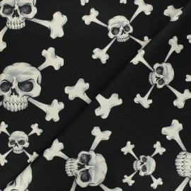Tissu coton Alexander Henry Skull and bones - noir x 10cm