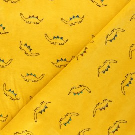 Poppy terry-cloth jersey fabric - yellow mustard Little dino's x 10cm