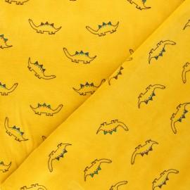 Tissu jersey velours éponge Poppy Little dino's - jaune moutarde x 10cm