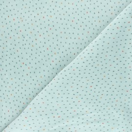 Tissu jersey velours éponge Poppy Stripes - bleu x 10cm