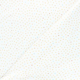 Poppy terry-cloth jersey fabric - white Stripes x 10cm