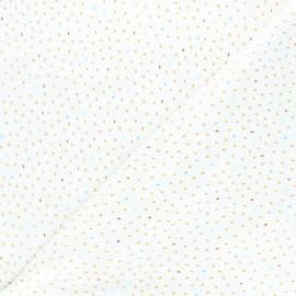 Tissu jersey velours éponge Poppy Stripes - blanc x 10cm