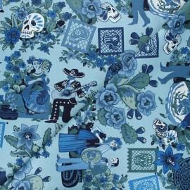 Tissu coton Alexander Henry La mascarada - bleu x 10cm