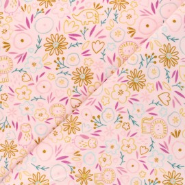 Tissu jersey velours éponge Poppy Sweet flowery - rose clair x 10cm
