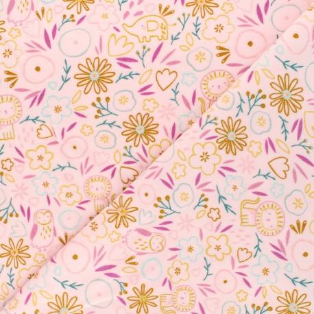 Poppy terry-cloth jersey fabric - light pink Sweet flowery x 10cm