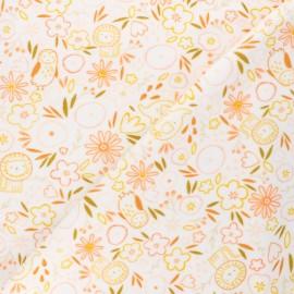 Tissu jersey velours éponge Poppy Sweet flowery - blanc x 10cm