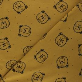 Poppy Sweatshirt cotton fabric - curry yellow Bear x 10cm