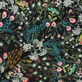 AGF flannel fabric - black Meadow umbra x 10cm