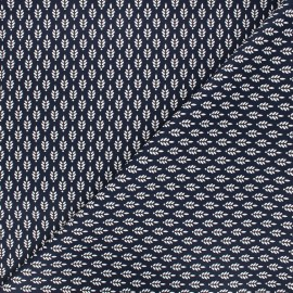 Poppy poplin cotton fabric - night blue Fantasy flower x 10cm