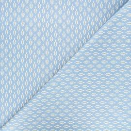 Poppy poplin cotton fabric - blue Fantasy flower x 10cm