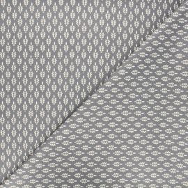 Poppy poplin cotton fabric - grey Fantasy flower x 10cm