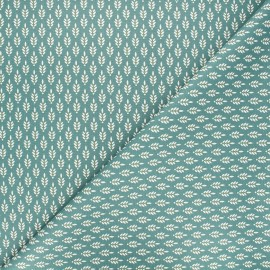 Poppy poplin cotton fabric - green Fantasy flower x 10cm