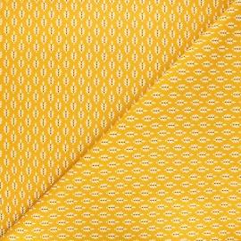 Poppy poplin cotton fabric - mustard yellow Fantasy flower x 10cm