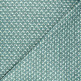 Poppy poplin cotton fabric - green Fantasy flower A x 10cm
