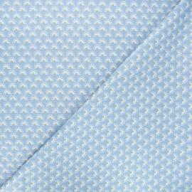 Poppy poplin cotton fabric - blue Fantasy flower A x 10cm