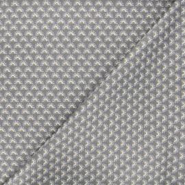 Poppy poplin cotton fabric - grey Fantasy flower A x 10cm