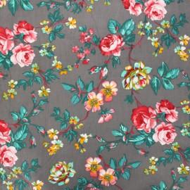 Flowery Milleraies velvet fabric - grey x 10cm