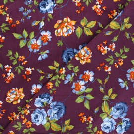 Flowery Milleraies velvet fabric - purple x 10cm