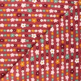 Poppy jersey fabric - burgundy Flowers A x 10cm