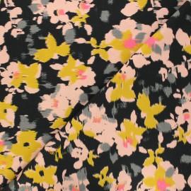 Poppy jersey fabric - black Flower Fuzz x 10cm