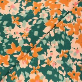 Poppy jersey fabric - green Flower Fuzz x 10cm
