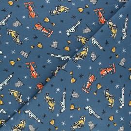 Poppy jersey fabric - blue Time to race x 10cm
