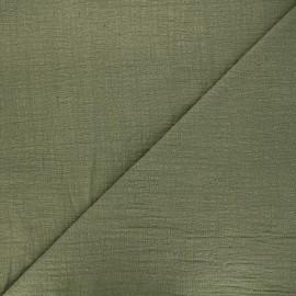 Flamed cotton voile fabric - khaki green Victorine x 10cm