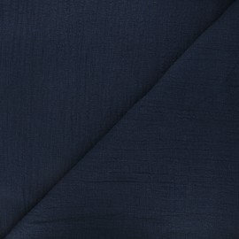 Flamed cotton voile fabric - navy blue Victorine x 10cm