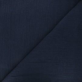 Tissu voile de coton flammé Victorine - bleu marine x 10cm