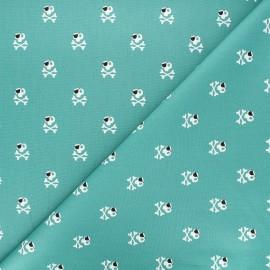 Poppy poplin cotton fabric - green Pirates x 10cm