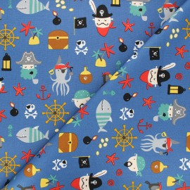Poppy poplin cotton fabric - blue Pirates A x 10cm