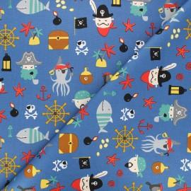 Tissu popeline de coton Poppy Pirates A - bleu x 10cm