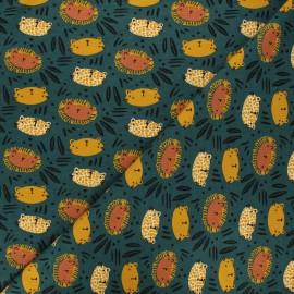 Poppy fabrics jersey fabric - dark green wild cats x 10cm