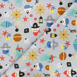 Poppy poplin cotton fabric - grey Pirates A x 10cm