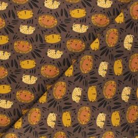 Tissu jersey Poppy Wild cats - marron x 10cm