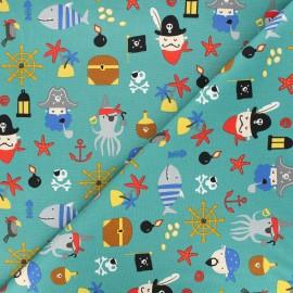 Poppy poplin cotton fabric - green Pirates A x 10cm