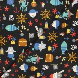 Tissu popeline de coton Poppy Pirates A - noir x 10cm