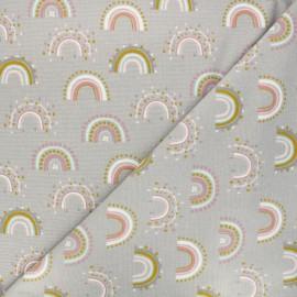 Poppy fabrics Flannel Fabric - grey Rainbow x 10cm