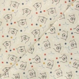Poppy fabrics Flannel Fabric - beige Sweat bear x 10cm