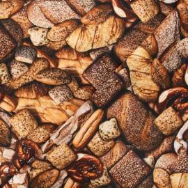 Tissu popeline de coton Poppy Bread - marron x 10cm