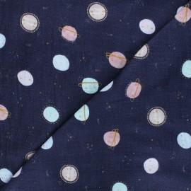 Poppy double gauze fabric - navy blue Milky way x 10cm
