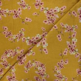 Tissu double gaze de coton Poppy Cherry blossom - jaune moutarde x 10cm
