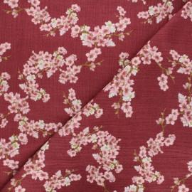 Tissu double gaze de coton Poppy Cherry blossom - bordeaux x 10cm