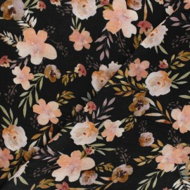 Poppy double gauze fabric - black Watercolour flowers x 10cm