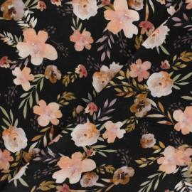 Tissu double gaze de coton Poppy Watercolour flowers - noir x 10cm
