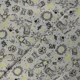 Poppy Sweatshirt cotton fabric - mottled grey Space x 10cm