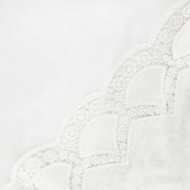 Scalloped openwork cotton voile fabric - raw Mary x 10cm