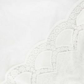 Tissu voile de coton brodé festonné Mary - écru x 10cm